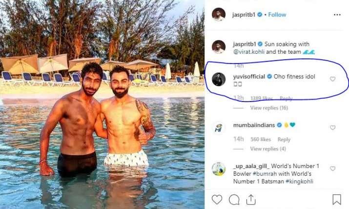 India Tv - Yuvraj Singh's comment on Jasprit Bumrah's photo