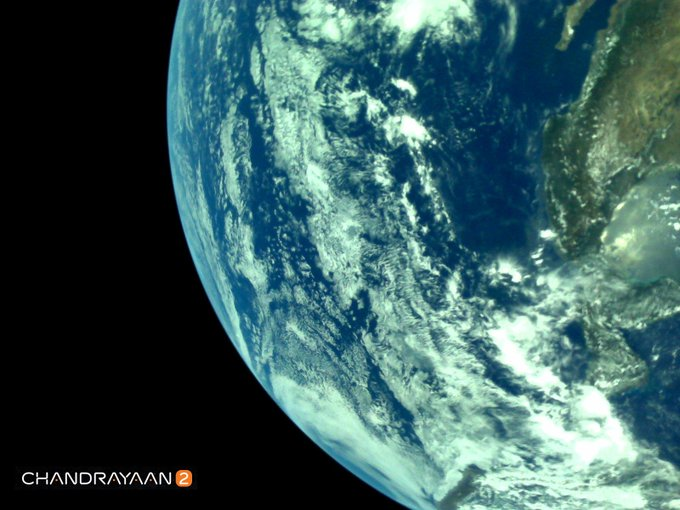 India Tv - Earth as viewed by Chandrayaan2 LI4 Camera on August 3, 2019 17:28 UT