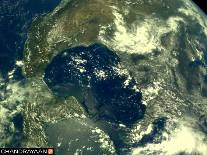 India Tv - Earth as viewed by Chandrayaan2 LI4 Camera on August 3, 2019 17:37 UT