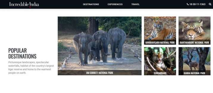 India Tv - Pictures from Jim Corbett National Park, Ranthambore National Park and other national parks have now appeared on the home page of Incredible India.