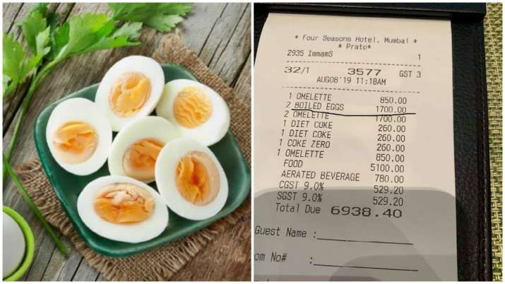 Two boiled eggs at high-end Four Seasons Hotel in Mumbai