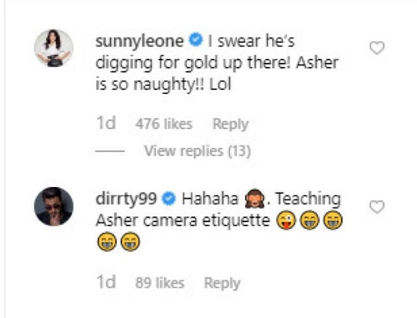 India Tv - Sunny Leone and husband Daniel Weber's reaction to son Asher's finger in the nose picture will leave you ROFL