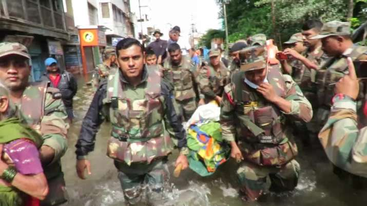 Indian Army jawans have been pressed into rescue and relief