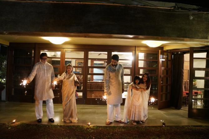 India Tv - Bachchan family celebrating Diwali at Jalsa.
