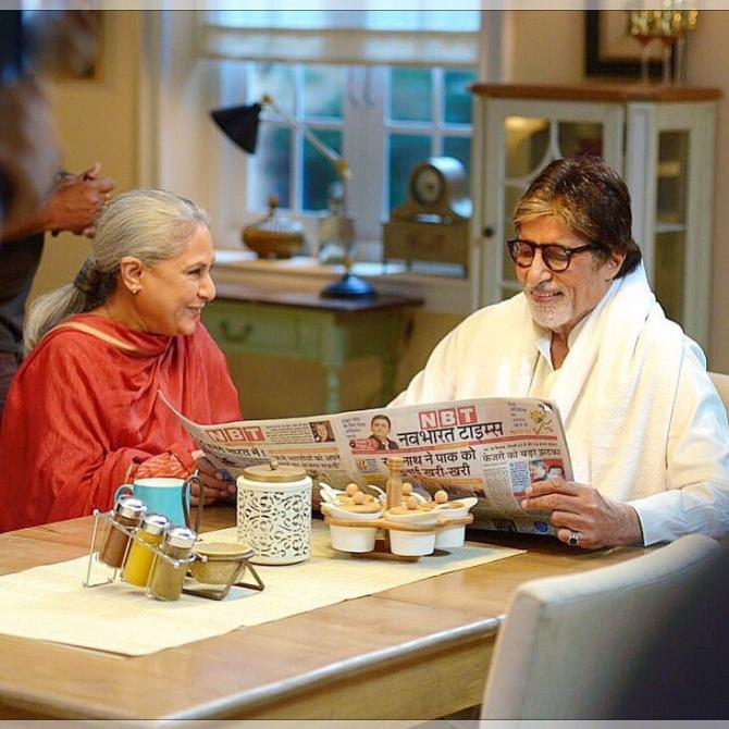 India Tv - Amitabh Bachchan spending quality time with wife Jaya at abode Jalsa.