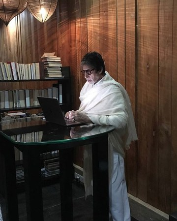 India Tv - Amitabh Bachchan in his study room at Jalsa.
