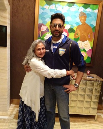 India Tv - Jaya Bachchan and Abhishek Bachchan at Jalsa.