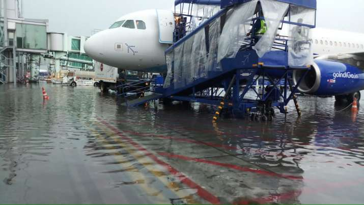 Rains clogged Kolkata's international airport causing traffic disruptions on Friday.