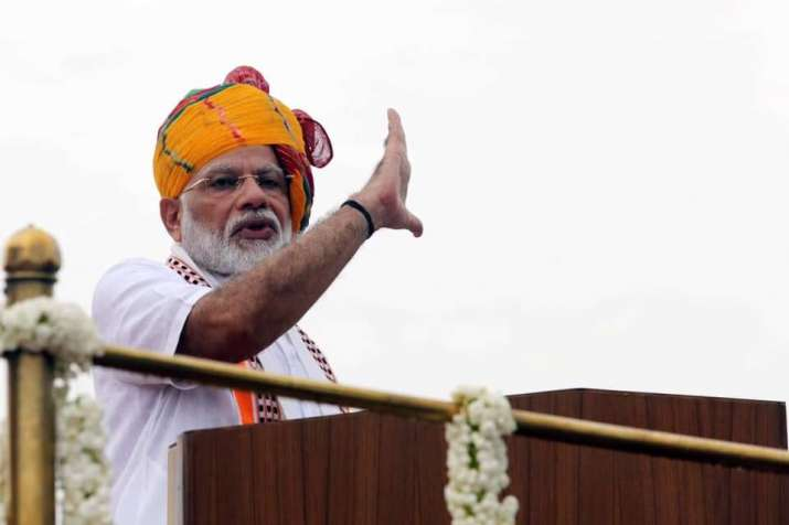 Prime Minister Narendra Modi addresses people from the ramparts of the Red Fort on August 15, 2019.