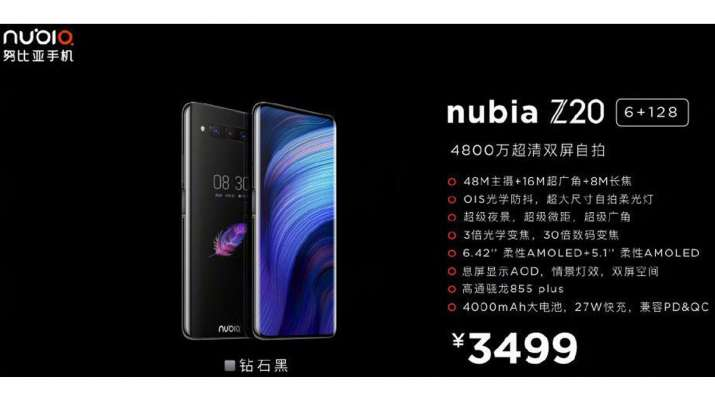 Nubia Z20 with 6.42-inch FHD+ front and 5.1-inch rear AMOLED displays along with Snapdragon 855 Plus