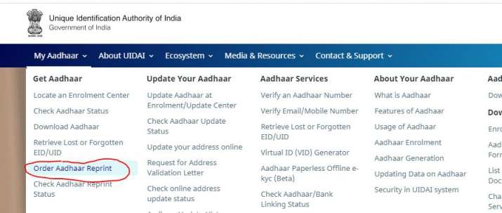India Tv - Through Order Aadhaar Reprint service you can easily request for lost Aadhaar card.