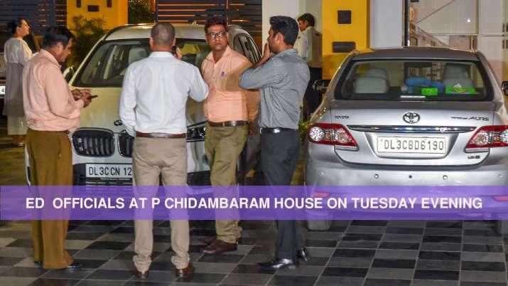 ED officials at P Chidambaram's residence in New Delhi on
