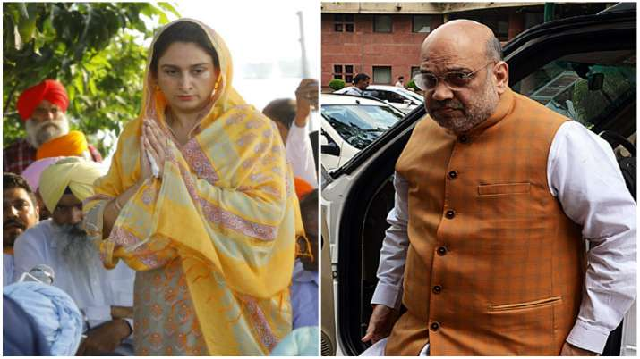 SAD chief Sukhbir Badal, Harsimrat meet Amit Shah