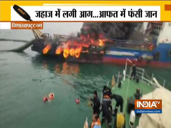 Massive fire engulfs offshore support vessel in