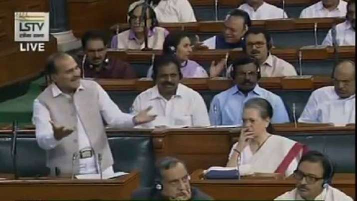To this end, Sonia Gandhi, sitting on his left, looked at