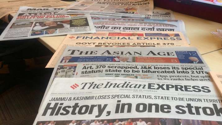 India's newspapers react to J&K decision