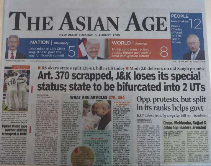 India Tv - India's newspapers react to J&K decision
