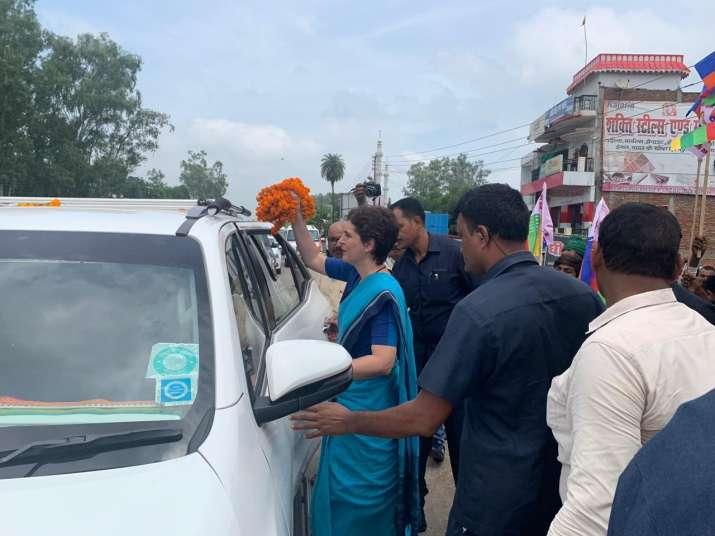 Priyanka Gandhi reached Umbha village in UP's Sonebhadra