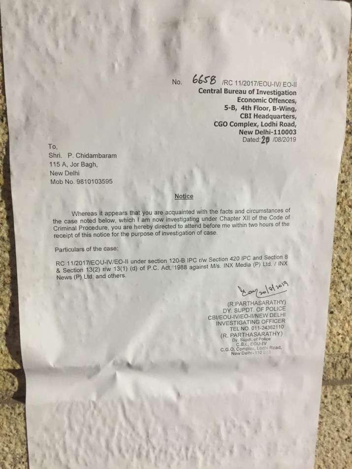 India Tv - CBI puts notice at Chidambaram's Jor Bagh residence in Delhi