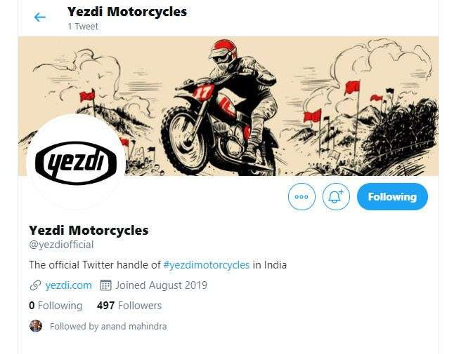 India Tv - Social media account of Yezdi has been created a few days back, gives a hint of a big announcement s