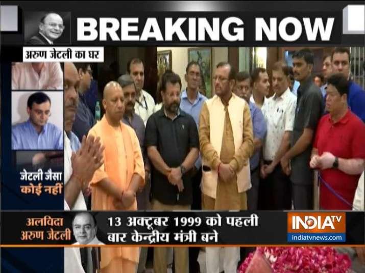 India Tv - Uttar Pradesh Chief Minister Yogi Adityanath pays tribute to Arun Jaitley.