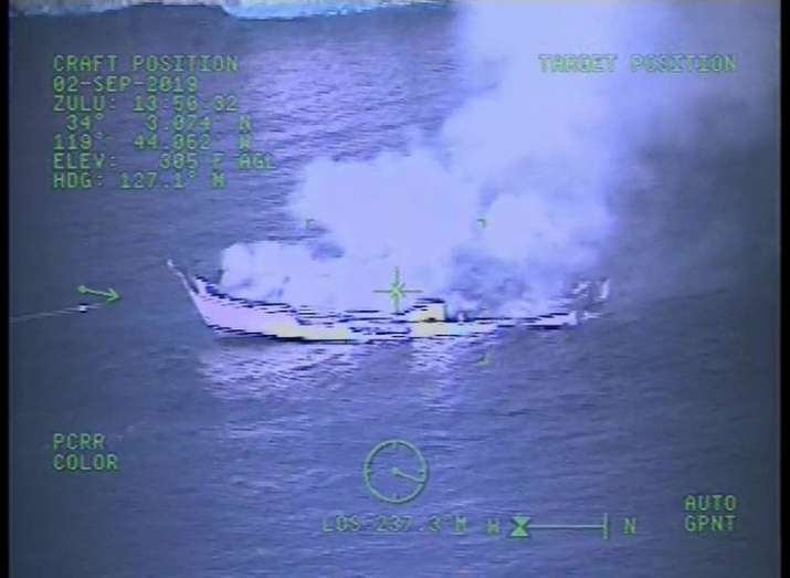India Tv - Image from video released by the U.S. Coast Guard shows a Coast Guard Sector San Diego MH-60 Jayhawk helicopter video screen, as crew responds to the vessel