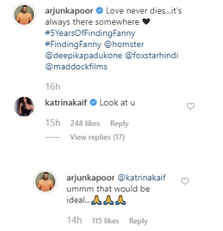 India Tv - Finding Fanny Turns 5: Katrina Kaif brutally trolls Arjun Kapoor, later gets funny reply by Panipat actor