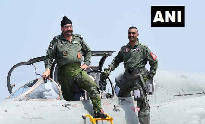Air Chief Marshal BS Dhanoa with Wing Commander Abhinandan