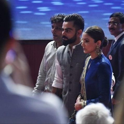 India Tv - Anushka Sharma and Virat Kohli at the renaming ceremony of an iconic stadium