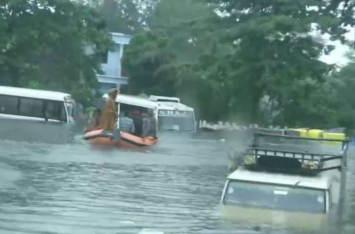 Bihar floods: Life out of gear, boats replaces cars on Patna streets