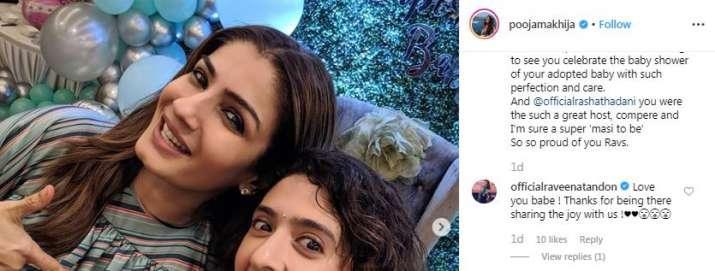 India Tv - Raveena Tandon's comments on Pooja makhija's post
