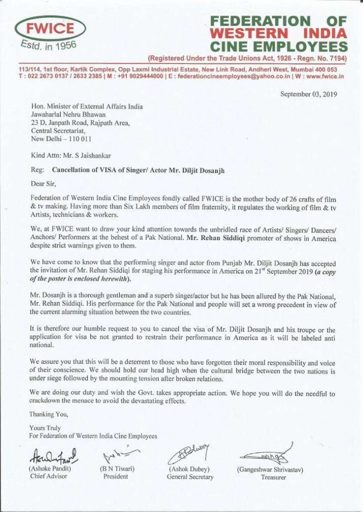 India Tv - FWICE's letter against Diljit Dosanjh