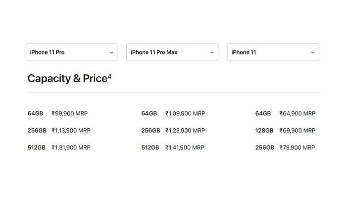 India Tv - iPhone 11 , 11 Pro, 11 Pro Max prices in India