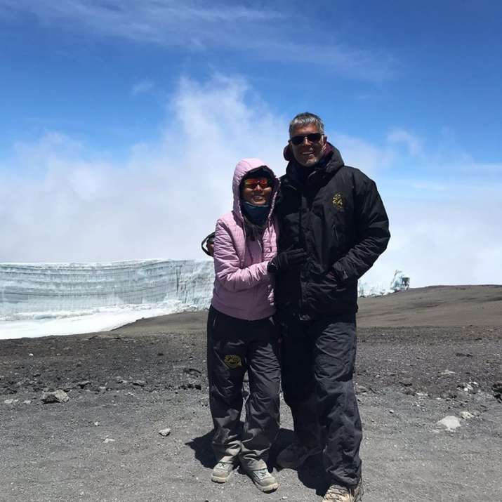 India Tv - Milind Soman wishes wife Ankita Konwar birthday by kissing her at Mount Kilimanjaro, see pics
