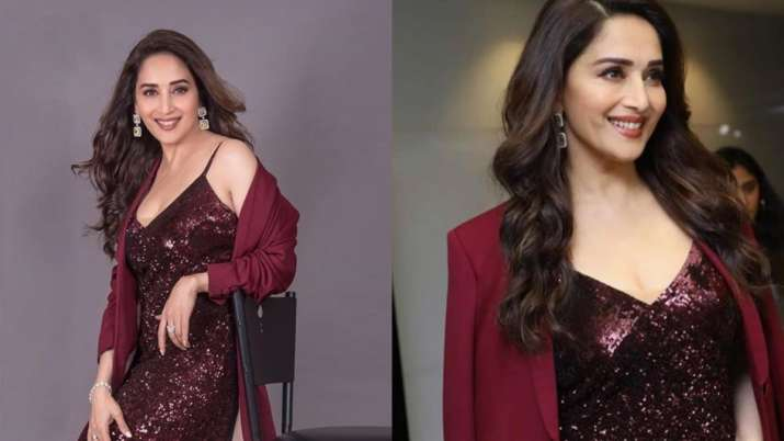 Madhuri Dixit looks gorgeous in her V neckline maroon sequined dress See pics