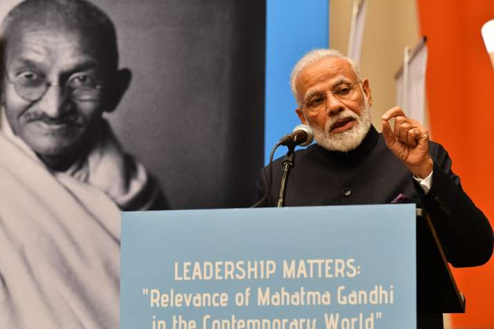 PM Modi delivers speech at UN on Gandhi