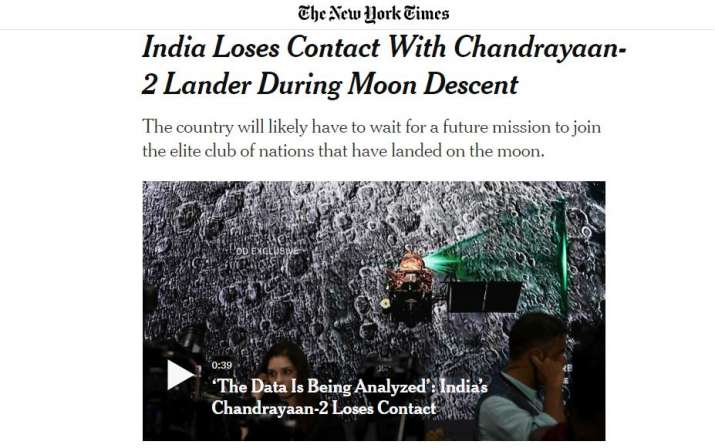 India Tv - New York Times on Chandrayaan 2 mission