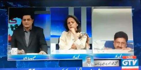 The video has one of the analysts, Mazhar Barlas, suddenly