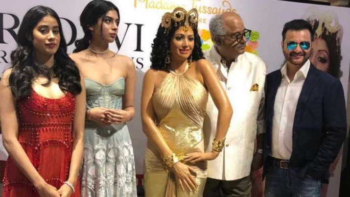 Boney Kapoor with Janhvi and Khushi Kapoor attend unveiling