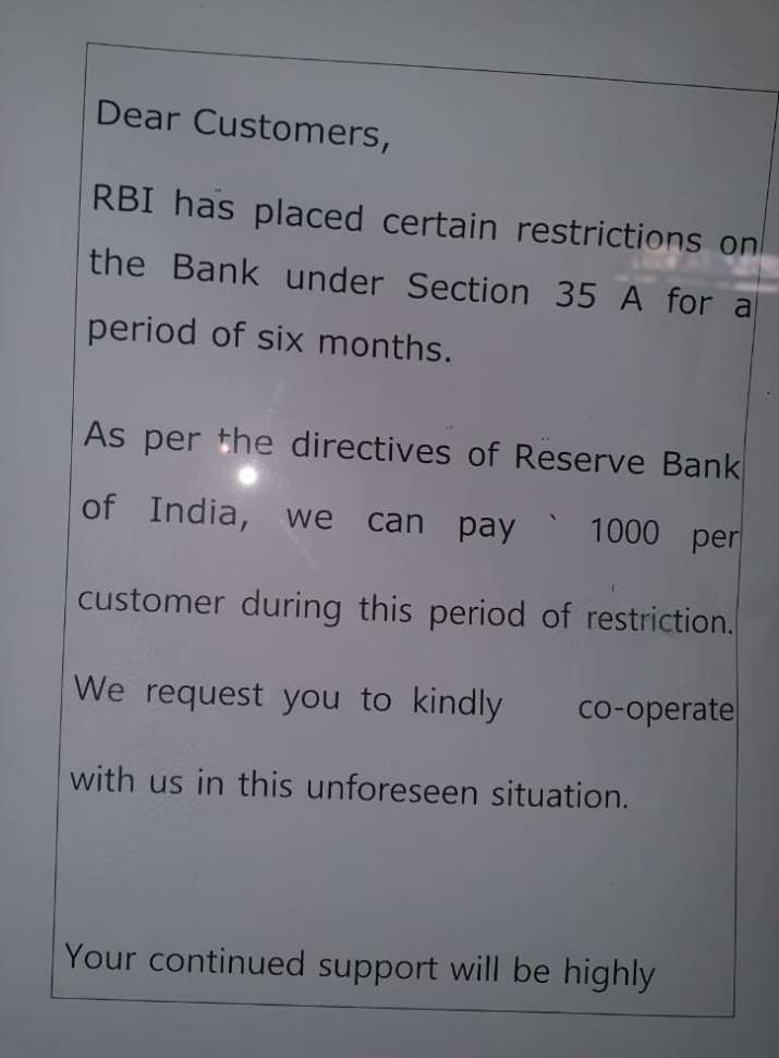 India Tv - RBI restriction notice in PMC Bank branch