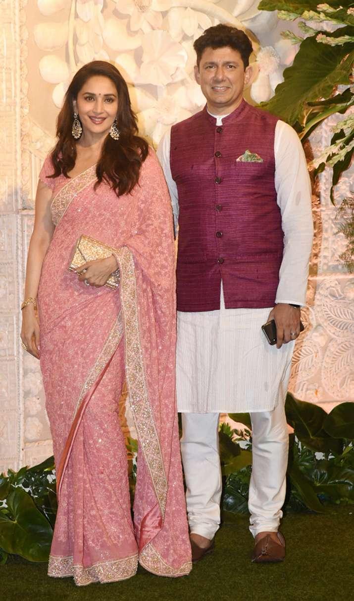 India Tv - Madhuri Dixit looked gorgeous as she arrived with husband Sriram Nene