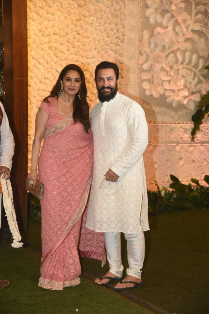 India Tv - Madhuri Dixit also posed with actor Aamir Khan at the Ambani House