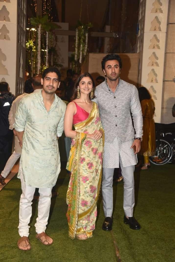 India Tv - Alia Bhatt posed with beau Ranbir Kapoor and friend Ayan Mukerji at the celebrations