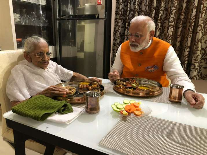PM Modi meets his mother Heeraben on his 69th birthday. See