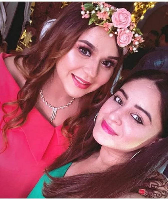 India Tv - Kapil Sharma's wife Ginni Chatrath with Mahhi Vij at their baby shower