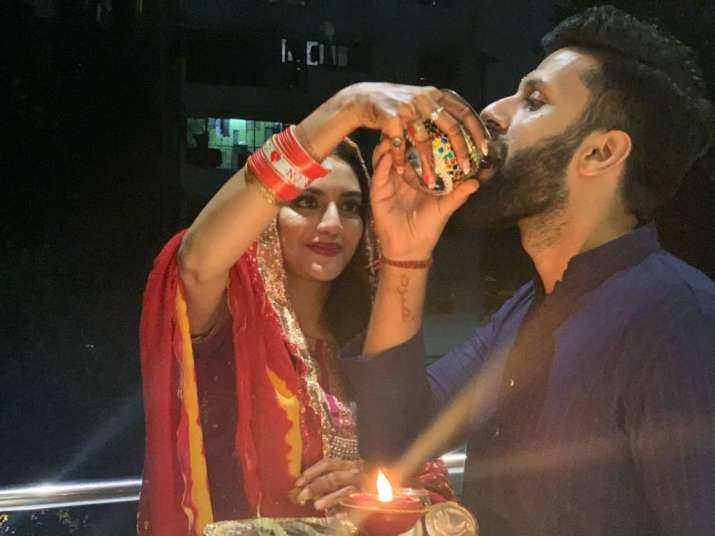 India Tv - Nusrat Jahan's first Karwa Chauth pictures with husband Nikhil Jain are adorable