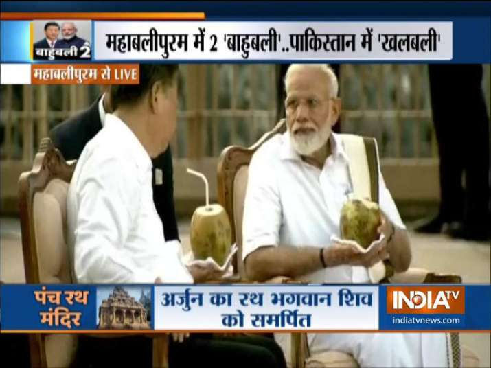PM Modi, Xi Jinping enjoy coconut water at Panch Rathas