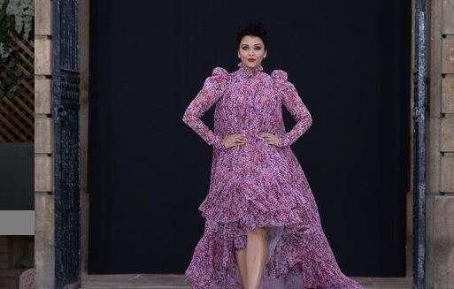 Aishwarya wore a pink asymmetrical floral dress by