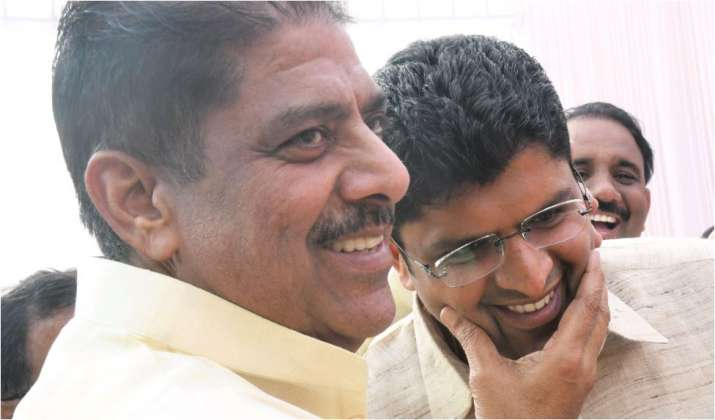 Ajay Chautala with his son and Haryana Deputy CM Dushyant