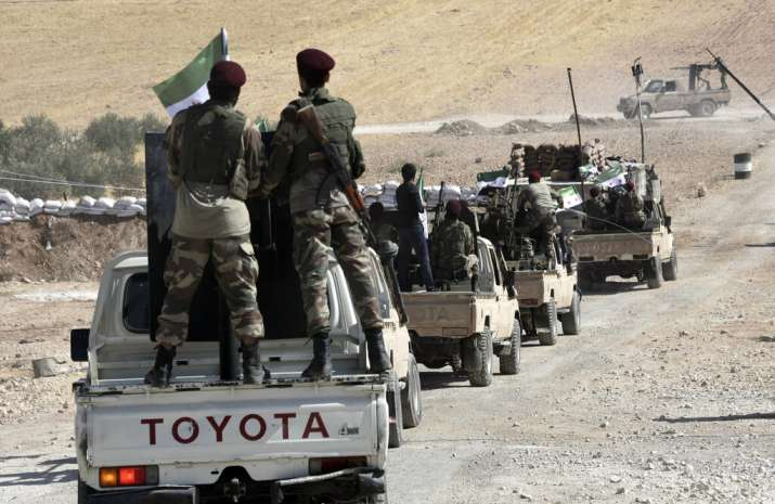India Tv - Turkey-backed FSA fighters are heading toward Syrian town of Tal Abyad from Turkish border town of Akcakale